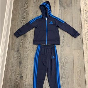 Boys Navy Adidas Track Suit